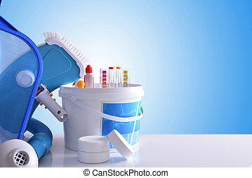 Błękitny, chemiczny, Wyroby, czyszczenie, tło, narzędzia,...