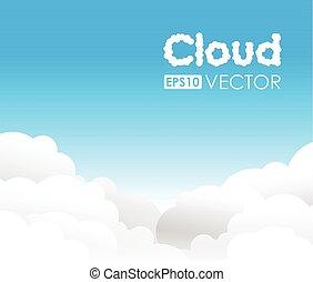 błękitny, chmura, tło