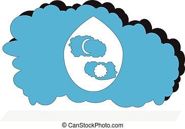 błękitny, chmura