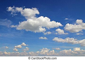 błękitny, chmury, białe niebo