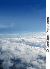 błękitny, chmury, niebo, aircarft, samolot, prospekt