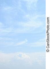 błękitny, chmury, niebo lekkie
