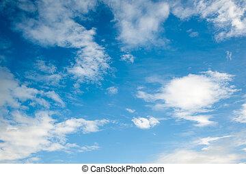 błękitny, chmury, niebo
