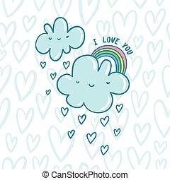 błękitny, chmury, ty, miłość, valentine