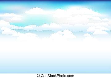 błękitny, chmury, wektor, niebo