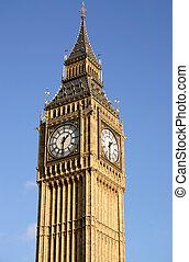 błękitny, cielna, londyn, ben, sky.