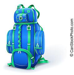 błękitny, cielna, plecak, podróż