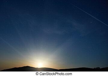 błękitny, ciemny, niebo nocy, z, gwiazdy