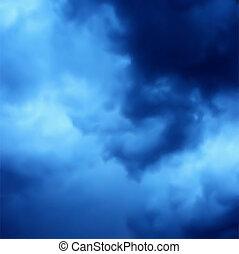 błękitny, ciemny, sky., wektor, tło