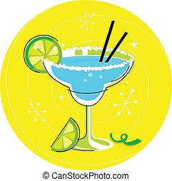 błękitny, cocktail, żółty, margarita