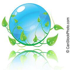 błękitny, concept., ilustracja, środowisko, wektor, zielony