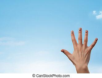 błękitny, copyspace, jasny, smiley, niebo, palce, patrząc, szczęśliwy
