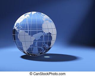 błękitny, cristal, kula, świat