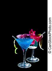 błękitny, curacao, cocktail, -, molekularny, mixology