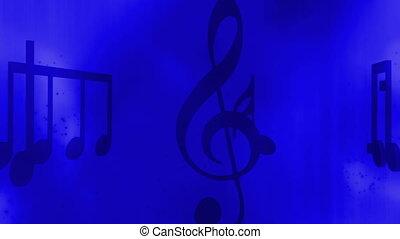 błękitny, cząstki, zawiązywanie, muzyka, tło, ożywiony