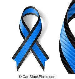 błękitny, czarnoskóry, wstążka