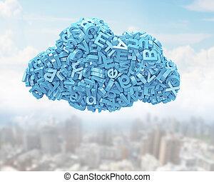 błękitny, data., cielna, forma., litery, chmura