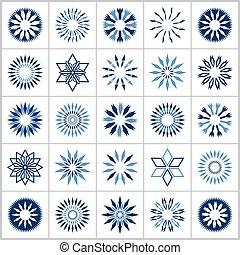 błękitny, dekoracyjne elementy, set., icons., projektować, abstrakcyjny