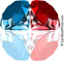błękitny, diamonds., wektor, czerwony