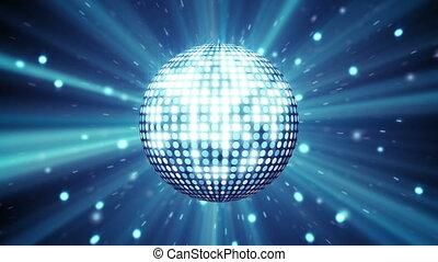 błękitny, disco piłka, lustrzany, seamless, pętla