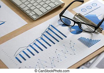 błękitny, dokumenty, paperwork, handlowy, reports?, wykresy, informuje, wykresy, teamwork, stół, zameldować, finansowy