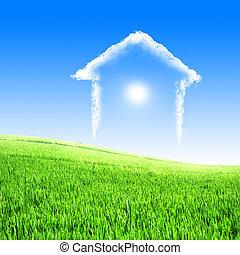 błękitny dom, chmury, niebo