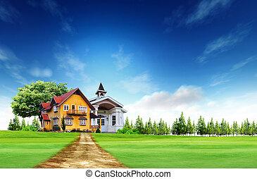 błękitny dom, niebo pole, zielony krajobraz