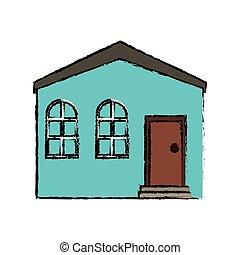 błękitny dom, prywatny, miejsce zamieszkania, rysunek, budowa