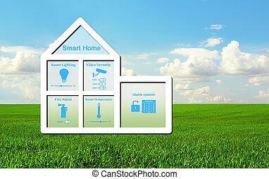 błękitny dom, wnętrze, niebo, system, zielone tło, dom, wzór, trawa, mądry