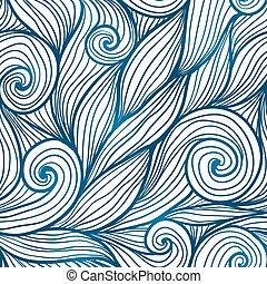 błękitny, doodle, fale, seamless, włosy, próbka