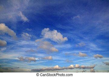 błękitny, doskonały, chmury, lato, niebo, biały