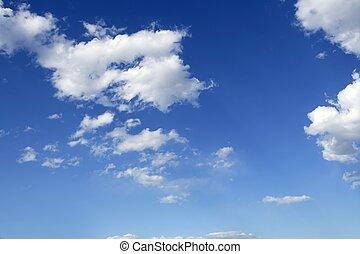 błękitny, doskonały, chmury, niebo, słoneczny, dzień, biały