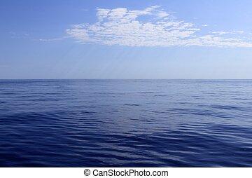 błękitny, doskonały, morze, ocean, spokój, horyzont