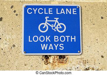 błękitny, dróżka, znak, ścieżka, plaża, cykl