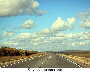 błękitny, droga, niebo, słoneczny, jesień, chmura, dzień, opróżniać
