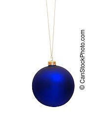 błękitny, drzewo, boże narodzenie bauble