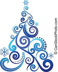 błękitny, drzewo, boże narodzenie
