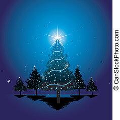 błękitny, drzewo, boże narodzenie, tło