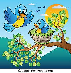 błękitny, drzewo, dwa, gałąź, ptaszki