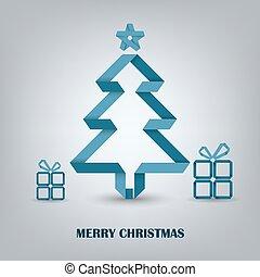 błękitny, drzewo, fałdowy, papier, kartka na boże narodzenie