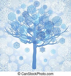 błękitny, drzewo, płatki śniegu