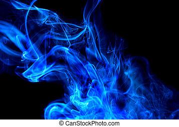 błękitny, dym chmura