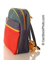 błękitny, dziatw, plecak, odizolowany, żółta zieleń, tło,...