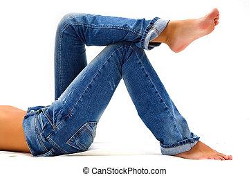 błękitny, dziewczyna, dżinsy