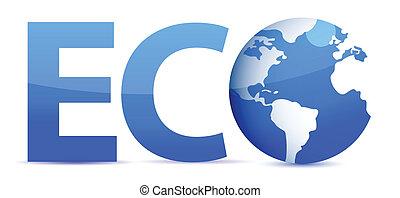 błękitny, eco, kula, słowo, 3d