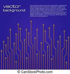błękitny, elementy, abstrakcyjny, żółte tło, techniczny, microchip