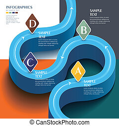błękitny, elementy, abstrakcyjny, infographic, wektor,...