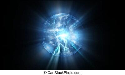błękitny, energia, plazma, abstrakcyjny