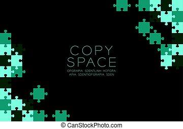 błękitny, eps10, kolor, próbka, zagadka, wyrzynarka, przestrzeń, odizolowany, ilustracja, wektor, zielone tło, czarnoskóry, kopia
