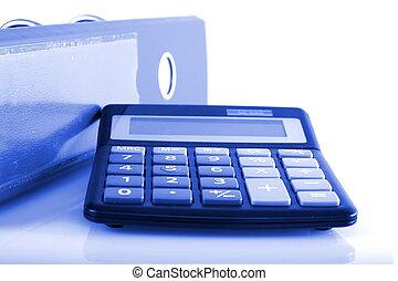 błękitny, falcownicy, handlowy, zacisk, kalkulator, pojęcia